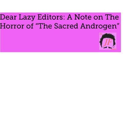Dear lazy editors